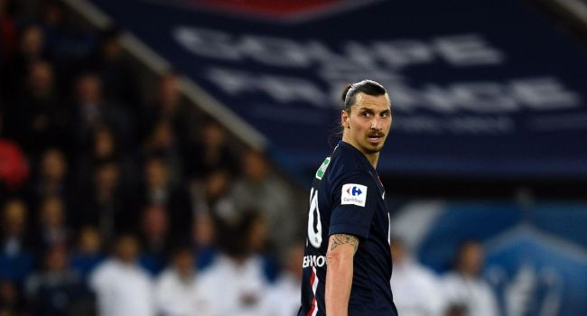 La superstar Zlatan Ibrahimovic avec le PSG contre Saint-Etienne en demi-finale de la Coupe de la Ligue, au Parc des Princes à Paris AFP/Archives